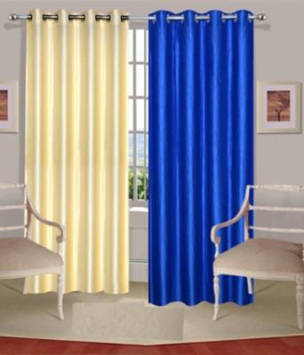 Fogg Polyester Blue, Beige Solid Tab Top Door Curtain