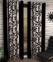 Home Pictures Polyester Brown Abstract Ring Rod Window Curtain(152 cm in Height, Pack of 2)