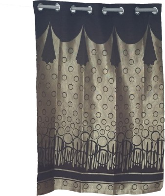 Ajratex Polyester Brown, Gold Printed Eyelet Window Curtain