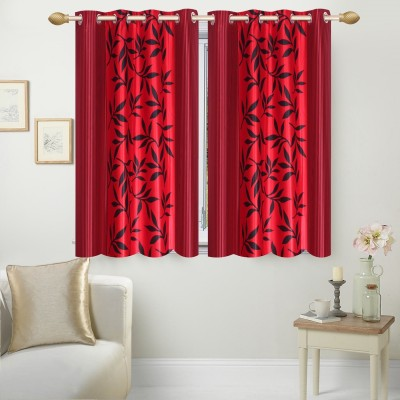Ville Style Polyester Red Floral Eyelet Window Curtain