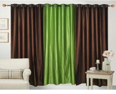 Ech Oly Polyester Brown, Light Green Plain Eyelet Door Curtain
