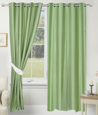 ALAGH FASHIONS Polyester Green Plain Eyelet Door Curtain