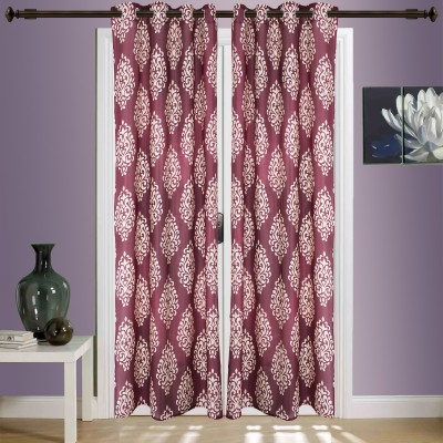 SWHF Cotton Maroon Striped Eyelet Window & Door Curtain