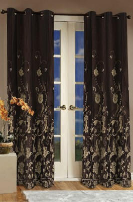 Dreamscape Polyester Brown Printed Eyelet Door Curtain