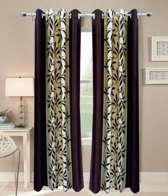 K Decor Polyester Brown Printed Eyelet Door Curtain
