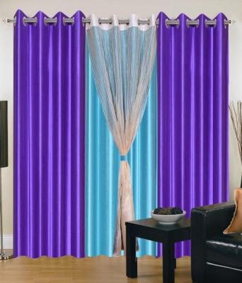 Ech Oly Polyester Multicolor Plain Eyelet Long Door Curtain