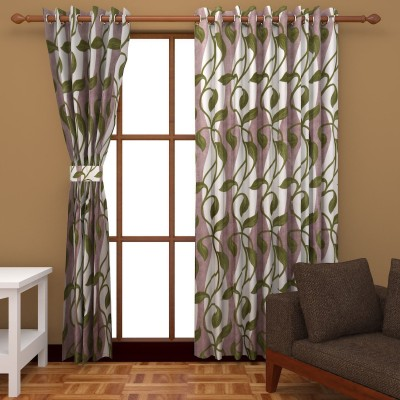 Abhomedecor Polyester Multicolor Floral Eyelet Window Curtain