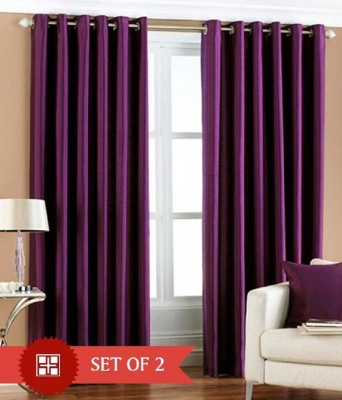 Shiv Fabs Polyester Purple Plain Ring Rod Long Door Curtain