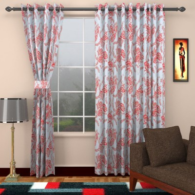 SEVEN STARS Cotton Red Floral Eyelet Window Curtain