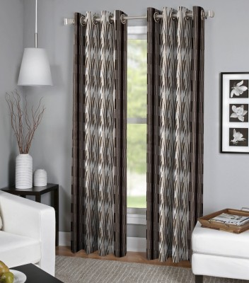 BSB Trendz Polyester Brown Striped Curtain Door Curtain