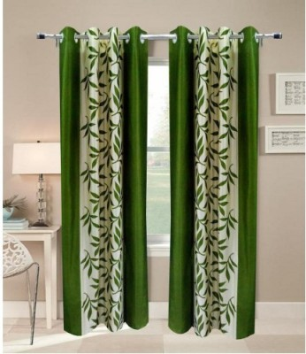 HandloomVilla Polyester Green Floral Eyelet Door Curtain