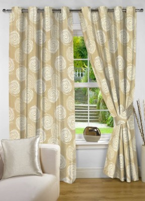 NuHome Decor Polyester Beige Printed Eyelet Window Curtain