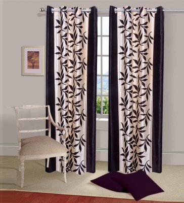 Shiv Fabs Polyester Black Floral Ring Rod Door Curtain