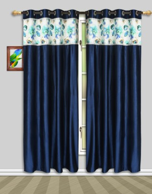 Harry Tex Polyester Blue Floral Eyelet Door Curtain