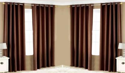 Pendu Art Polyester Brown Plain Eyelet Door Curtain