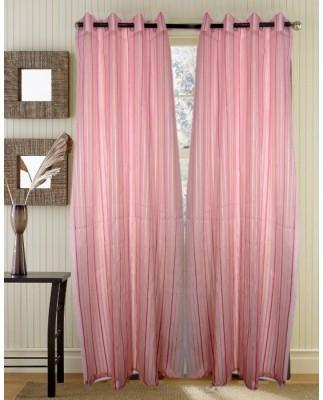 Handloomhub Polyester Pink Solid Eyelet Door Curtain