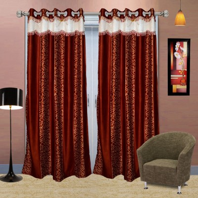 Go Decore PVC Red Self Design Ring Rod Door Curtain