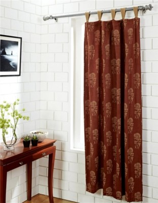 House This Cotton Maroon Floral Eyelet Long Door Curtain
