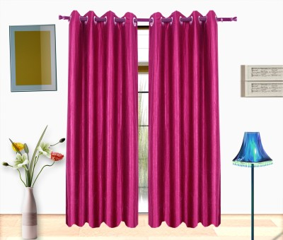 Shop24 Polyester Pink Solid Eyelet Door Curtain