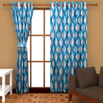 2 Day Design Polyester Aqua Abstract Eyelet Window Curtain