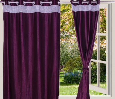 Desire Polyester Purple Solid Eyelet Long Door Curtain