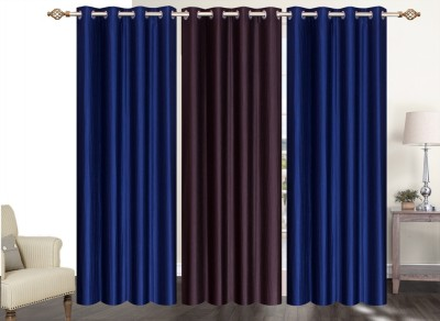 Furnishing Zone Polyester Blue, Brown Plain Eyelet Long Door Curtain