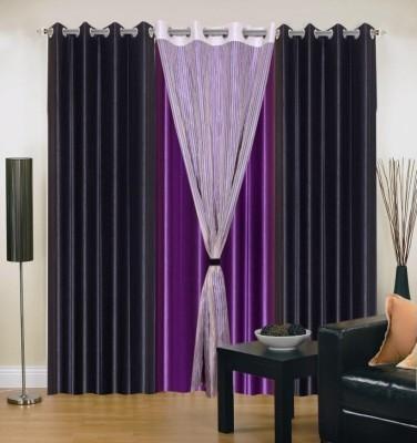 Daddu Enterprises Polyester Multicolor Self Design Eyelet Window Curtain