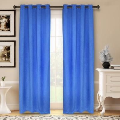 Soumya Polycotton Blue Plain Eyelet Window Curtain