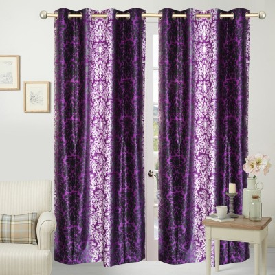 Home Fashion Polyester Purple Printed Eyelet Door Curtain