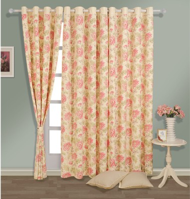 Swayam Cotton Pink, Beige Abstract Eyelet Door Curtain