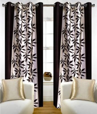 Panipat Textile Hub Polyester Brown Floral Eyelet Window Curtain