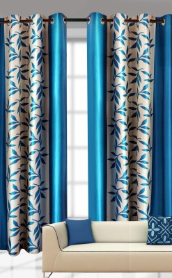 India Furnish Polyester Turqoise Printed Eyelet Door Curtain