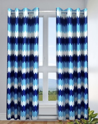 Kwality Polyester Blue Printed Eyelet Door Curtain