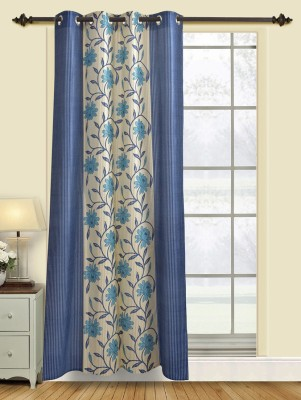 Firangi Polyester Blue Floral Eyelet Door Curtain