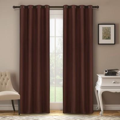 Soumya Polycotton Brown Plain Eyelet Long Door Curtain