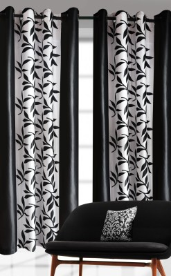 India Furnish Polyester Black Printed Eyelet Door Curtain