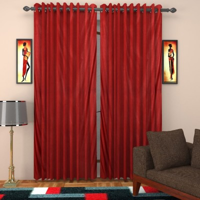 SurprizeMe Polyester Maroon Solid Eyelet Window Curtain