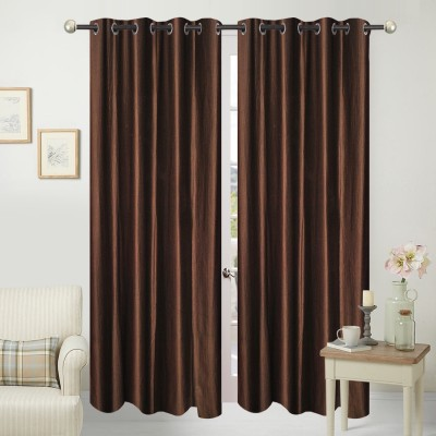 Home Fashion Polyester Brown Plain Eyelet Door Curtain