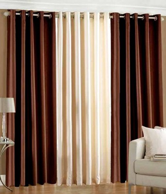 Thiwas Polyester Brown, Cream Plain Eyelet Door Curtain