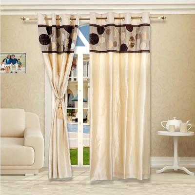 Eyda Polyester Multicolor Abstract Eyelet Door Curtain