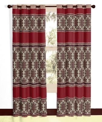 Vivace Homes Polyester, Jacquard Maroon Geometric Eyelet Door Curtain