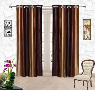 Comfort Zone Polyester Brown And Golden Solid Eyelet Door Curtain