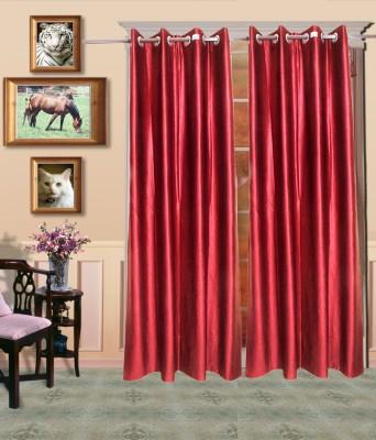 HandloomVilla Polyester Maroon Solid Eyelet Door Curtain