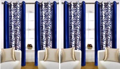 FriendClub Polyester NAVY BLUE Printed Eyelet Door Curtain