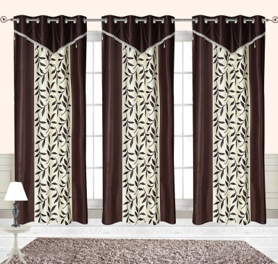 Comfort Zone Polyester Brown And White Leaf Abstract Eyelet Door Curtain