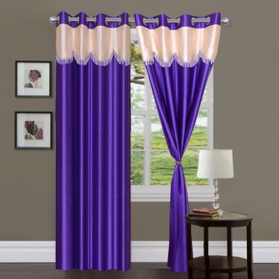 Homesazz Polyester Blue Self Design Eyelet Door Curtain