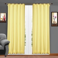 Zappy Cart Polyester Cream Solid Ring Rod Window & Door Curtain(122 cm in Height, Pack of 2)