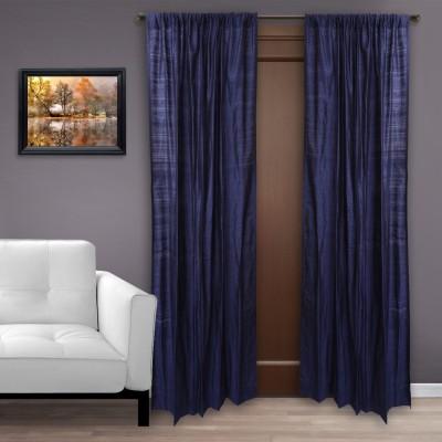 MARMITTE Silk Blue Plain Rod pocket Door Curtain