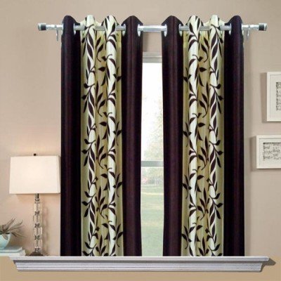 Chaitnya Handloom Polyester Purple Floral Eyelet Window Curtain