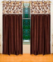 Home Candy Polyester Brown Geometric Ring Rod Long Door Curtain(270 cm in Height, Pack of 2)